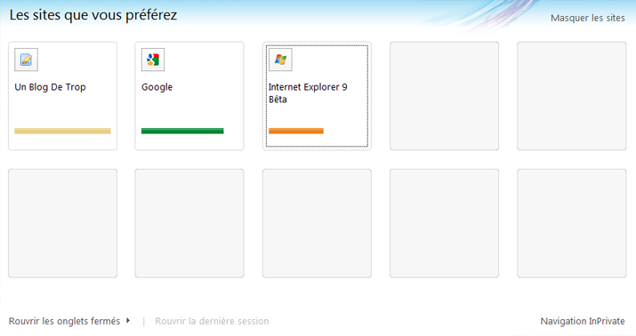 internet explorer 9 onglets